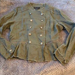 I-N-C Olive Green Linen Jacket